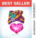 heart in turban headdress.... | Shutterstock .eps vector #1041838027