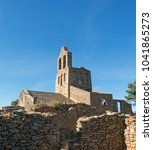 Small photo of The Romanesque church of Sant Pere de Rodes in Cap de Creus Natural park. It is a former Benedictine monastery in the comarca of Alt Emporda, in the North East of Catalonia, Spain.
