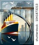 art deco ship vector...   Shutterstock .eps vector #1041873313