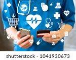doctor pressing button heart... | Shutterstock . vector #1041930673