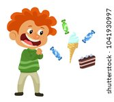 red boy desire to eat sweets | Shutterstock .eps vector #1041930997