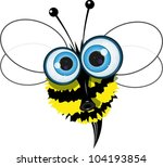 cartoon illustration of an angry bee with big eyes - stock vector