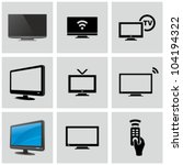 TV icons set. - stock vector
