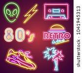 set retrowave neon sign. neon... | Shutterstock . vector #1041945313
