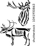 stencil for laser cutting. deer.... | Shutterstock .eps vector #1041950863
