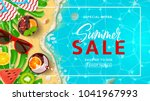 Promo web banner template for summer sale. Top view on Summer decoration with realistic objects on beach. Vector illustration with discount offer. Concept of seasonal vacation in tropical country. | Shutterstock vector #1041967993