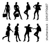 set of vector silhouettes of... | Shutterstock .eps vector #1041970687
