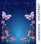 magic butterflies with golden... | Shutterstock .eps vector #1041999667