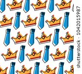 crown and necktie accessory...   Shutterstock .eps vector #1042015987