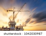 construction site at sunset | Shutterstock . vector #1042030987