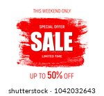 weekend sale banner template....   Shutterstock .eps vector #1042032643