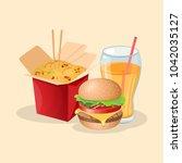 wok  burger and fresh orange... | Shutterstock .eps vector #1042035127