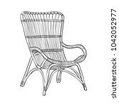 line art wicker armchair  vector | Shutterstock .eps vector #1042052977