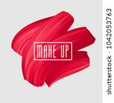 red brush painted smear for... | Shutterstock .eps vector #1042053763