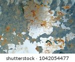 zinc rust closeup  metal rust... | Shutterstock . vector #1042054477