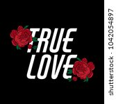 true love. vector  lettering... | Shutterstock .eps vector #1042054897