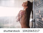 beautiful woman taking shower... | Shutterstock . vector #1042065217