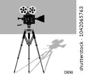 movie film camera icon on...   Shutterstock .eps vector #1042065763