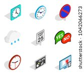 indicator icons set. isometric... | Shutterstock .eps vector #1042066273