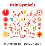 pain symbols  vector... | Shutterstock .eps vector #1042071817