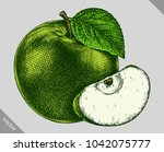 engrave isolated apple hand... | Shutterstock .eps vector #1042075777