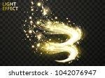 vector transparent golden wave... | Shutterstock .eps vector #1042076947