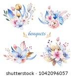 boho flower set. colorful... | Shutterstock . vector #1042096057