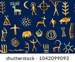 imitation of drawing in a cave...   Shutterstock . vector #1042099093