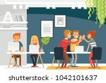 co working space interior with... | Shutterstock .eps vector #1042101637