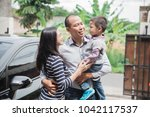 father's day. happy family son... | Shutterstock . vector #1042117537