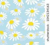 seamless doodle daisy pattern.... | Shutterstock .eps vector #1042134163
