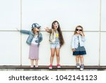 group of cheerful happy little... | Shutterstock . vector #1042141123