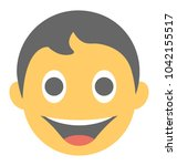 a laughing expression shown via ... | Shutterstock .eps vector #1042155517