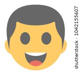 a laughing expression shown via ... | Shutterstock .eps vector #1042155607