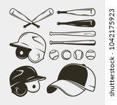 set of baseball equipment and... | Shutterstock .eps vector #1042175923