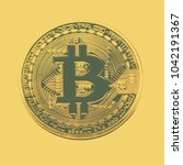 bitcoin coin photo close up....   Shutterstock . vector #1042191367