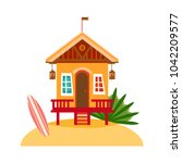 beach houses collection.... | Shutterstock .eps vector #1042209577