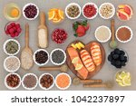 healthy diet food concept with... | Shutterstock . vector #1042237897