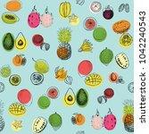 tropical fruits seamless pattern | Shutterstock . vector #1042240543
