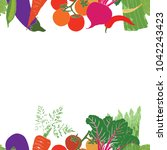 colorful vegetables pattern | Shutterstock .eps vector #1042243423