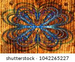 floral background blue wooden ... | Shutterstock . vector #1042265227