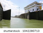 lock gates on the panama canal... | Shutterstock . vector #1042280713