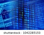 program code on a monitor | Shutterstock . vector #1042285153