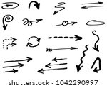 hand drawn vector arrows ... | Shutterstock .eps vector #1042290997