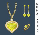 fashion jewelry set with... | Shutterstock .eps vector #1042297753