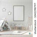 blank poster frame mockup in... | Shutterstock . vector #1042298797