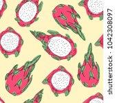 pitaya hand draw vector pattern ...   Shutterstock .eps vector #1042308097