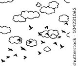 vector black and white drawing of flock of flying birds and clouds in the sky - stock vector
