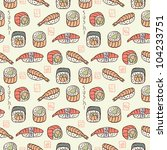 sushi seamless pattern - stock vector