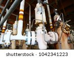 wellhead on the remote platform ... | Shutterstock . vector #1042341223